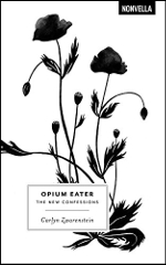Opium Eater book cover: a black and white image of opium poppies
