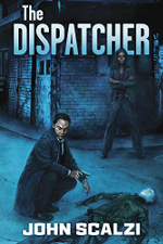 The Dispatcher book cover. A man crouching by a dead body, with a woman standing in the background.