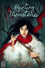 Hunting Monsters book cover: a young woman with a red scarf, fur wrap, and a gun
