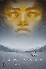 Luminous book cover, a mans face over an open plain