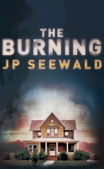 Book cover for The Burning, a house with smoke effects