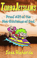 Turbo Jetslams cover: Cartoon of two kids on a jet ski over a picture of a peaceful lake