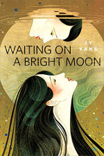 Waiting on a Bright Moon book cover: Two women looking at each other in front of a moon